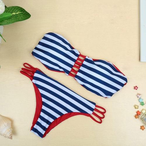 Sexy Stripe Contrast Bikini Set
