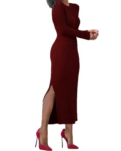 Knitted Long Dress Side Splits Rib Maxi Sweater Dress O-Neck Casual Slim Dress
