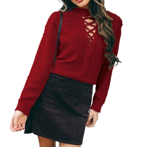 Lace Up Dropped Shoulder Long Sleeve Knitted Sweater