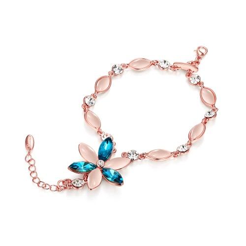 Вьеннский моды опал горный хрусталь красивый цветок очарование браслет браслет женщин Свадебные украшения подарок