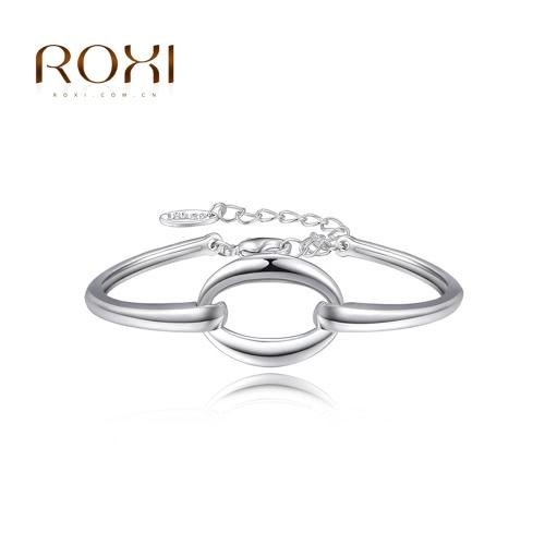 РОКСИ моды белого золота покрытием круглый круг гладкой браслет браслет ювелирных аксессуаров для женщин девушка