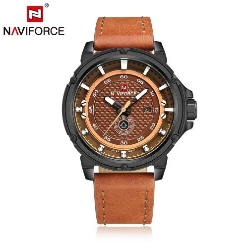 NAVIFORCE Waterproof PU Wristband Week Calendar Men's Quartz Watch
