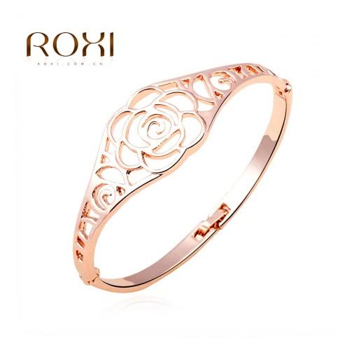 РОКСИ изысканный моды полые цветок браслет розового золота покрытием женщин девушка свадьбы партии изящных ювелирных изделий