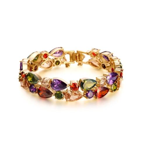 Мода Новый уникальный Красочные Циркон Rhinestone Кристалл позолоченный браслет для женщина девушка свадебный подарок партии
