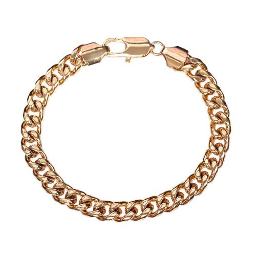 Личность панк-рок стиль 18K золото покрытием металлические связь руку цепь браслет ювелирные изделия для женщин девушек