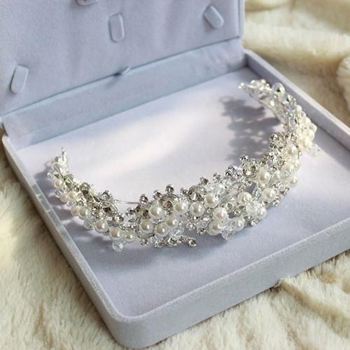 Принцесса моды кристалла Rhinestone имитация жемчуг бусы для новобрачных Корона лентой цепи Диадемы Украшения Вайн ювелирные изделия для свадьбы