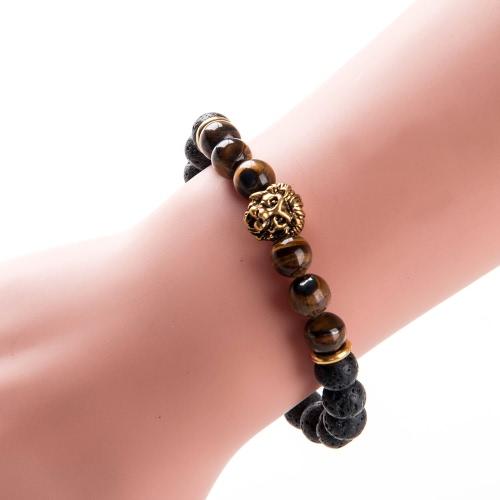 Новая мода Уникальный Мужчины Женщины Природный камень льва бисер браслет шарма ювелирных изделий для подарка партии Unisex