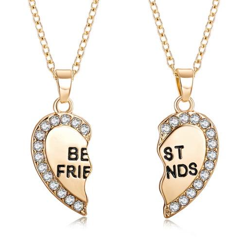 2 шт Корейский Мода ювелирные изделия Сплит Diamond Сердце ожерелье