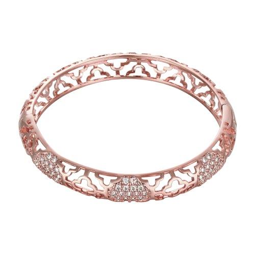 Полый Латунный Браслет вставленный браслет с AAA цирконом с застежкой Золотой & Роза-золотой модное украшение для женщин