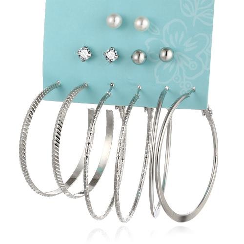 Мода Личность Большие кольца Серьги Жемчужные ушные шпильки