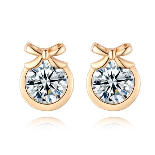 Мода Шарм Циркон Кристалл Rhinestone позолоченный металл медь стержня уха серьги ювелирные изделия для женщин