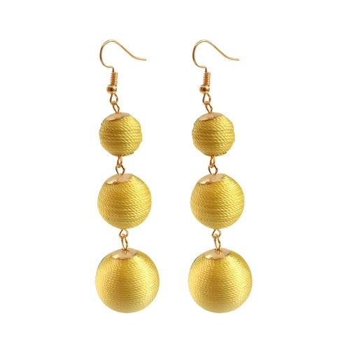 Мода Популярная классическая богемская проволока Curled Balls Line Ear Drop Earrings