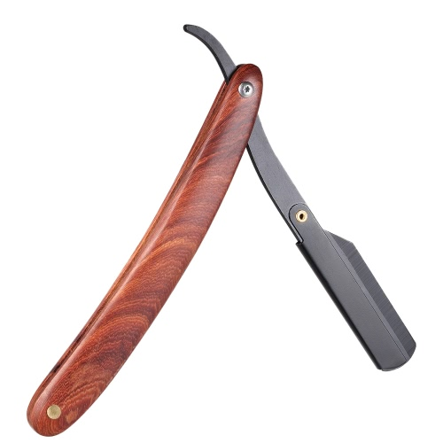 Straight Razor Manual Edge Razor Stainless Steel Folding Shaving Razor Wooden Handle Blade not included