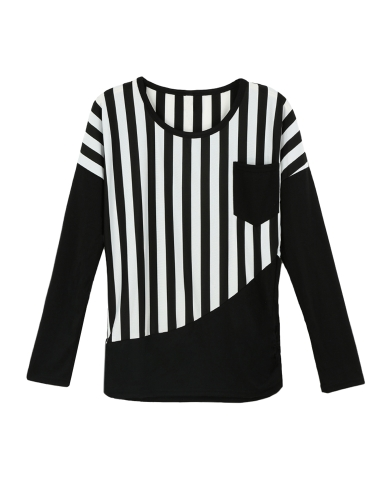 Casual Stripe Patchwork Chest