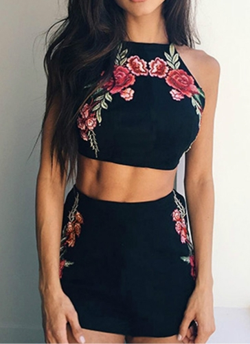 Floral Embroidery Halter...