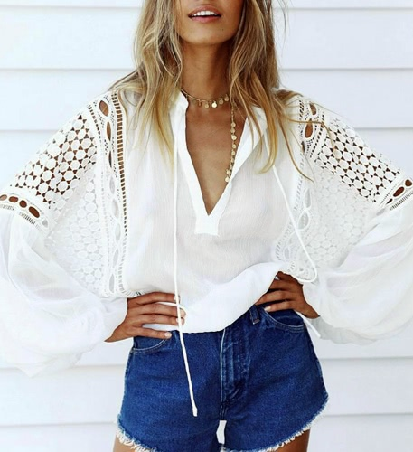Hollow Out V Neck Lantern Sleeve Blouse