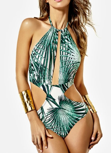 One Piece Cut Out Leaf Print Tie Halter Sexy Women's Swimsuit