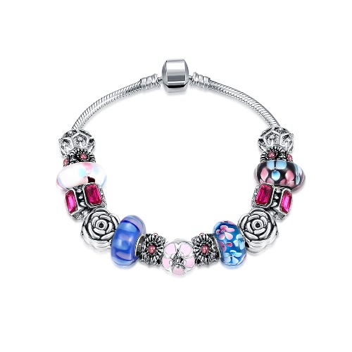 Мода уникальный шарм Красочные кристаллические шарики Посеребренная металлические цепи браслет ювелирные изделия для женщин девушки подарка партии